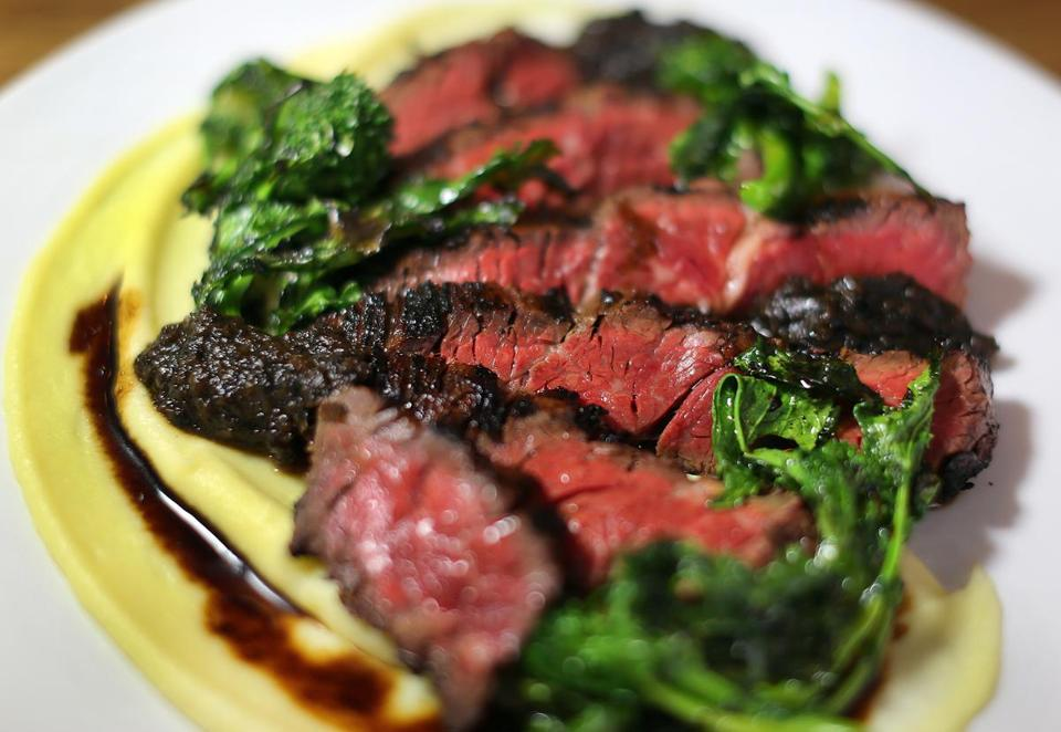 Hanger steak with miso-cola marinade.